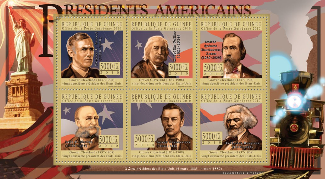 The President of USA - Grover Cleveland - Issue of Guinée postage stamps