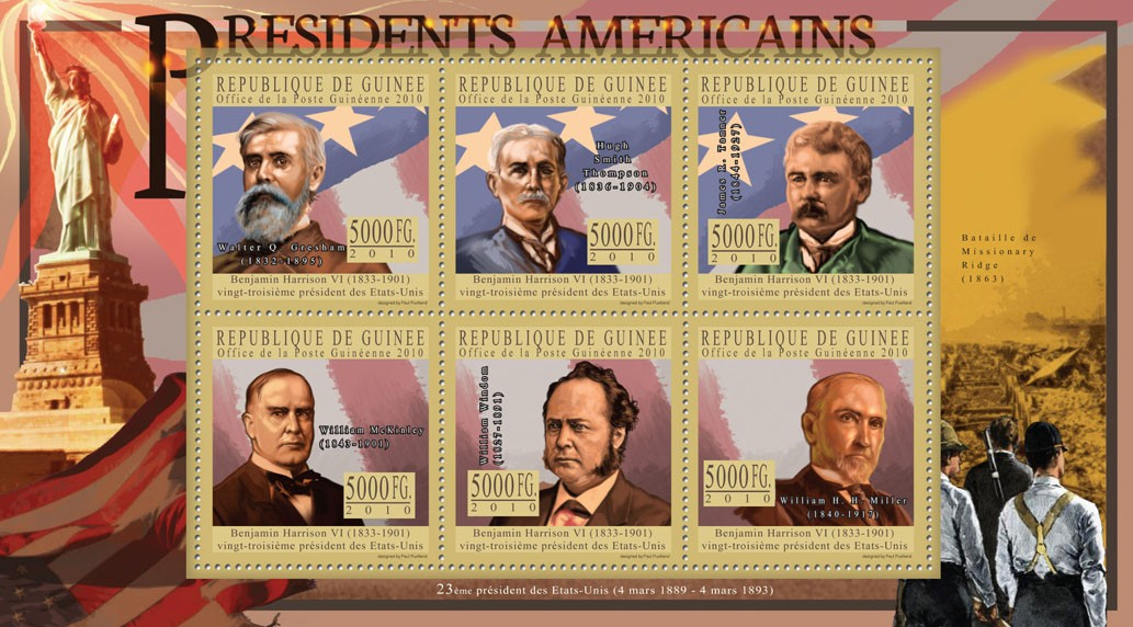 The President of USA - Benjemin Harrison - Issue of Guinée postage stamps