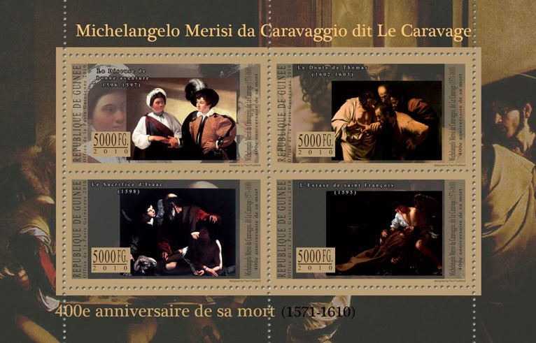 400th Anniversary of Death M. M. da Caravaggio - Issue of Guinée postage stamps