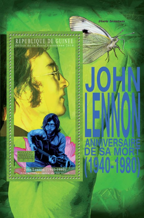 70th Anniversary of John Lennon - Issue of Guinée postage stamps