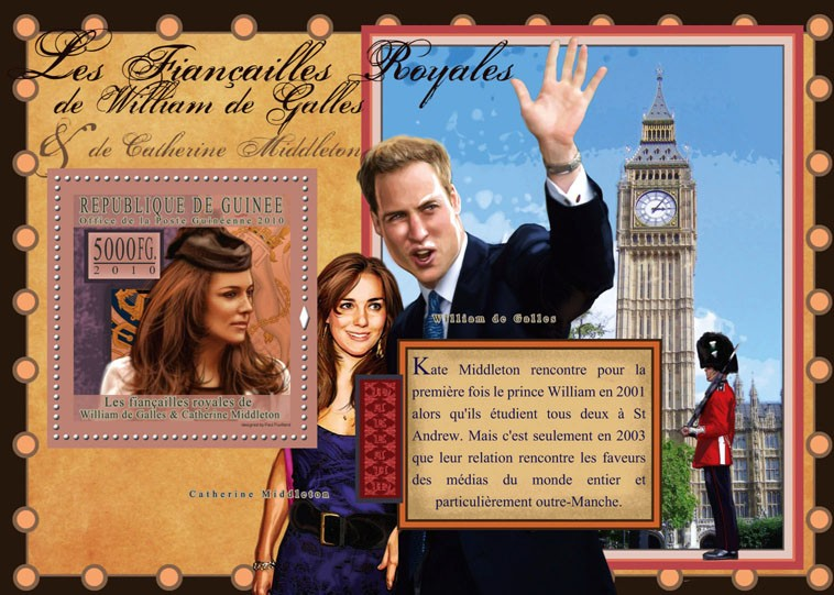 The Royal Engagement - Prince William & Kate Middleton,  (Big Ben). - Issue of Guinée postage stamps