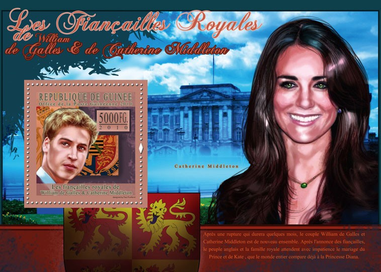 The Royal Engagement - Prince William & Kate Middleton,  (Buckingham Palace). - Issue of Guinée postage stamps