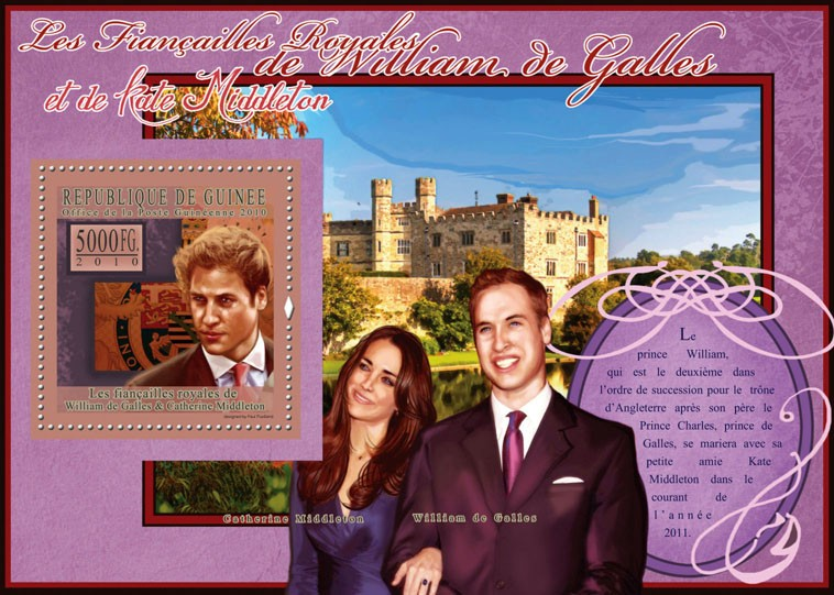 The Royal Engagement - Prince William & Kate Middleton,  (Vinsor Castle). - Issue of Guinée postage stamps