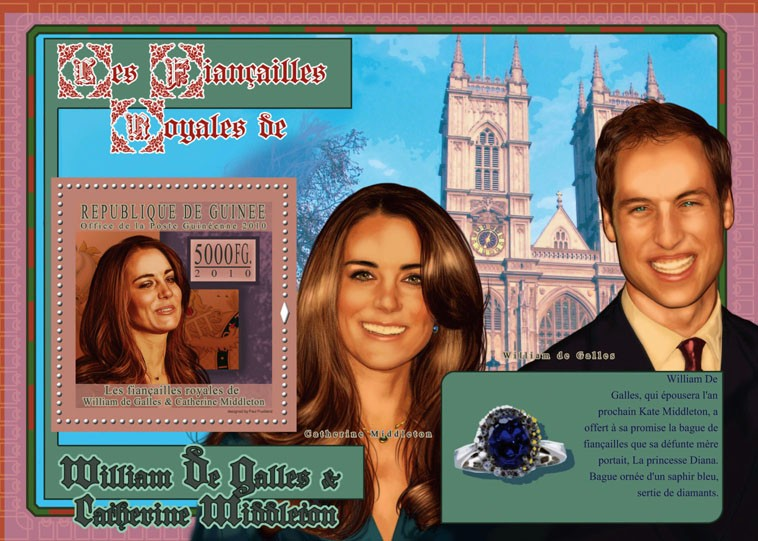 The Royal Engagement - Prince William & Kate Middleton,  (Westminister Castle). - Issue of Guinée postage stamps