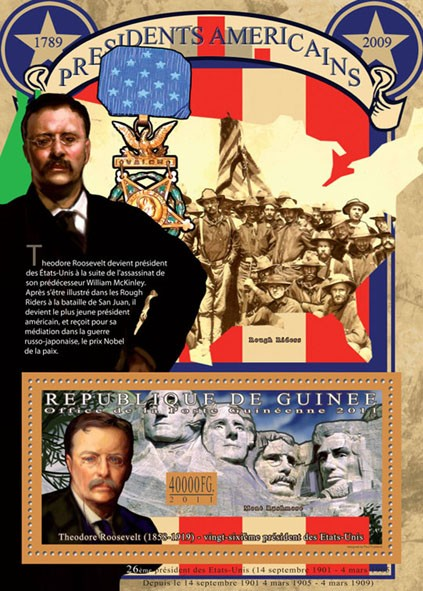 The President of USA-Theodore Roosevelt, (1858-1919). - Issue of Guinée postage stamps