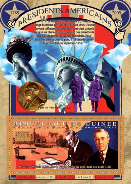 The President of USA-Woodrow Wilson, (1856-1942). - Issue of Guinée postage stamps