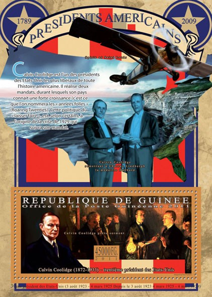 The President of USA-Calvin Coolidge, (1872-1933). - Issue of Guinée postage stamps