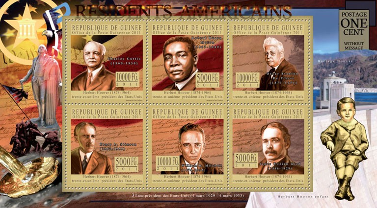 The President of USA-Herbert Hoover, (1874-1964). - Issue of Guinée postage stamps