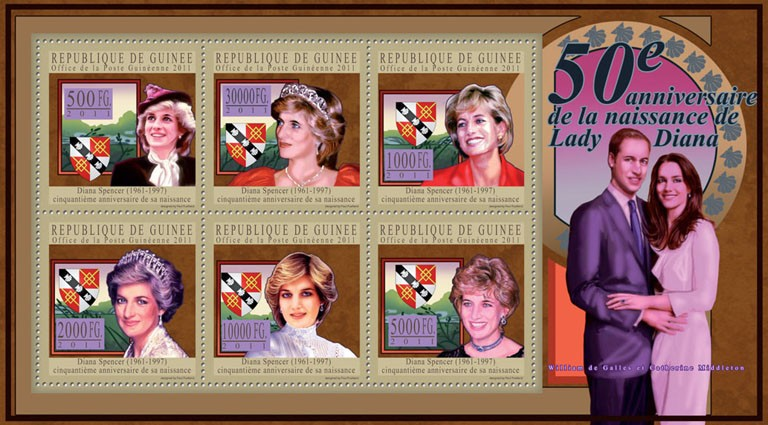 50th Anniversary of Lady Diana, (1961-1997) II. - Issue of Guinée postage stamps