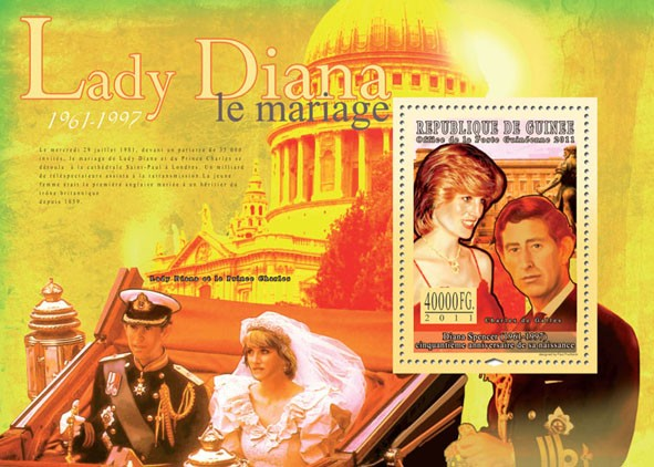 50th Anniversary of Lady Diana, (1961-1997) III. - Issue of Guinée postage stamps