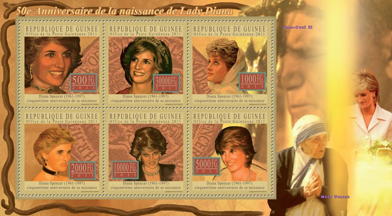 50th Anniversary of Lady Diana, (1961-1997) IV. - Issue of Guinée postage stamps
