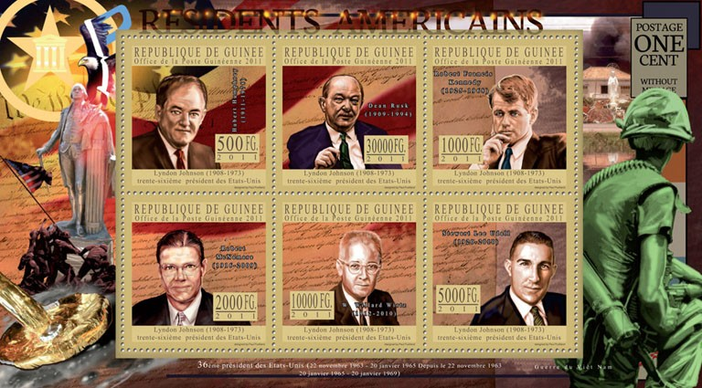 The President of USA - Lyndon Johnson, (1908-1973). - Issue of Guinée postage stamps