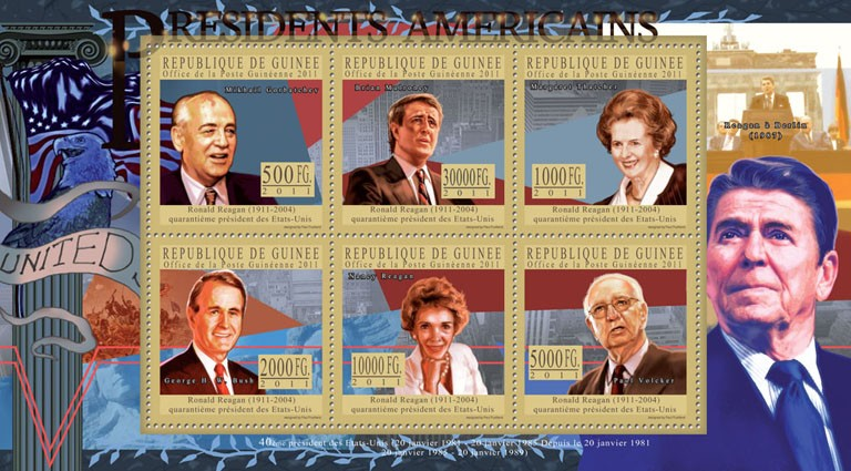 The President of USA - Ronald Reagan, (1911-2004). - Issue of Guinée postage stamps
