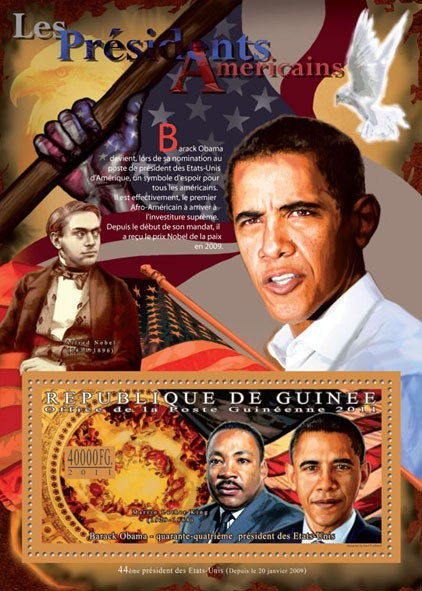 The President of USA - Barack Obama. - Issue of Guinée postage stamps