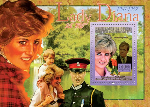 50th Anniversary of Lady Diana, (1961-1997) V. - Issue of Guinée postage stamps