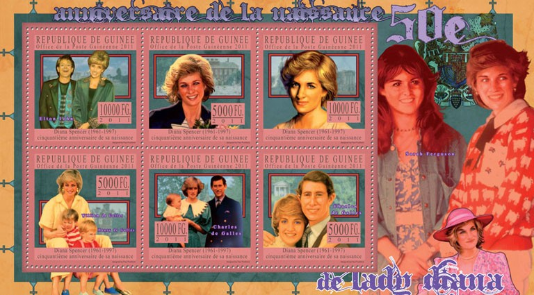 50th Anniversary of Lady Diana, (1961-1997) VI. - Issue of Guinée postage stamps