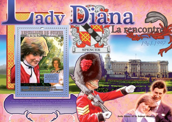 50th Anniversary of Lady Diana, (1961-1997) VII. - Issue of Guinée postage stamps