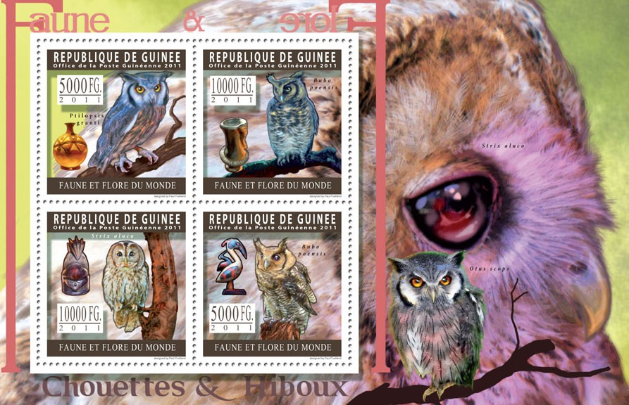 Owls. - Issue of Guinée postage stamps