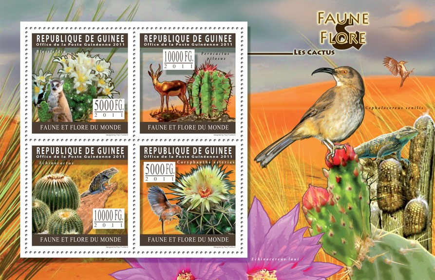 Cactus. - Issue of Guinée postage stamps