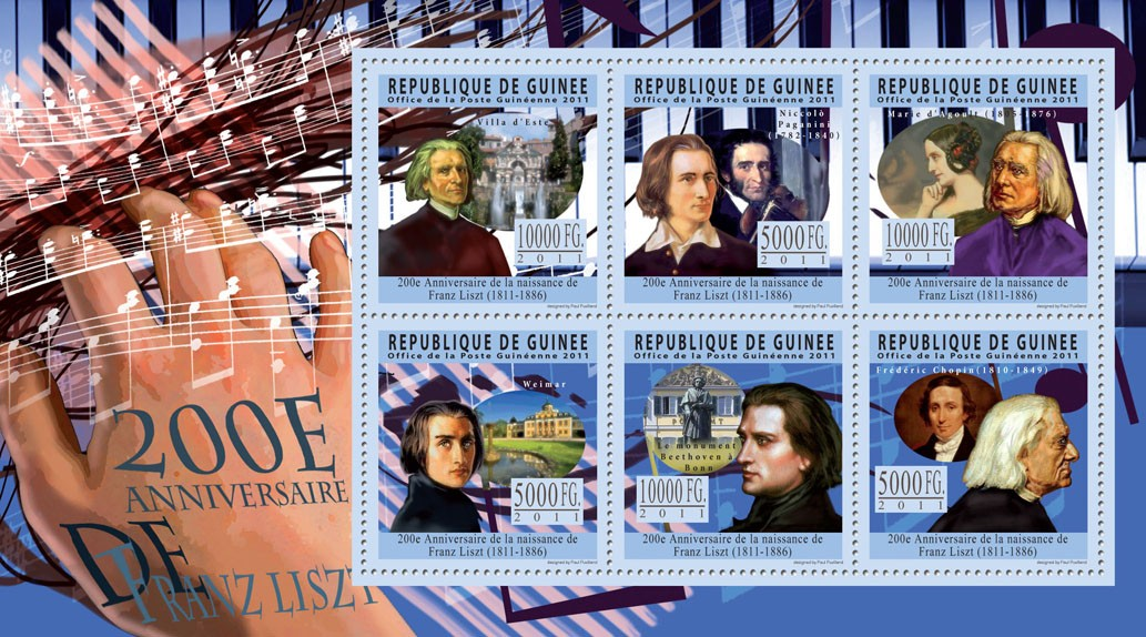 200th Anniversary of Franz Liszt, (1811-1886). - Issue of Guinée postage stamps