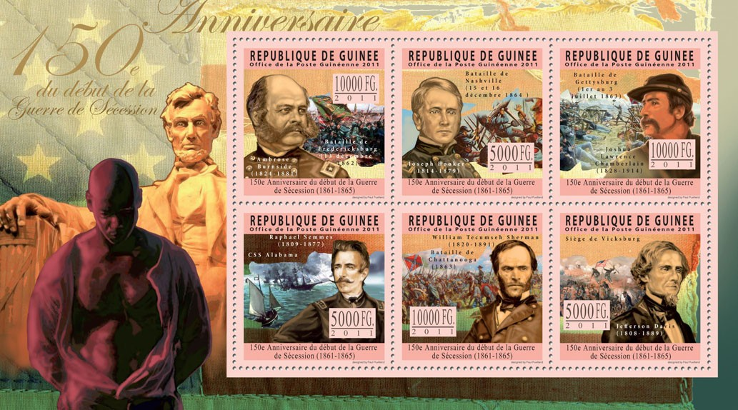 150th Anniversary of the American Civil War. - Issue of Guinée postage stamps