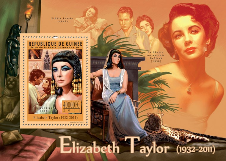 Tribute to Elizabeth Taylor, (1932-2011). - Issue of Guinée postage stamps