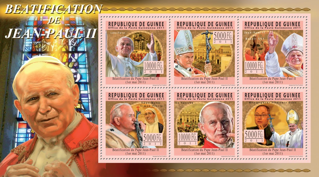 Beatification of Pope John Paul II, (1920-2005). - Issue of Guinée postage stamps