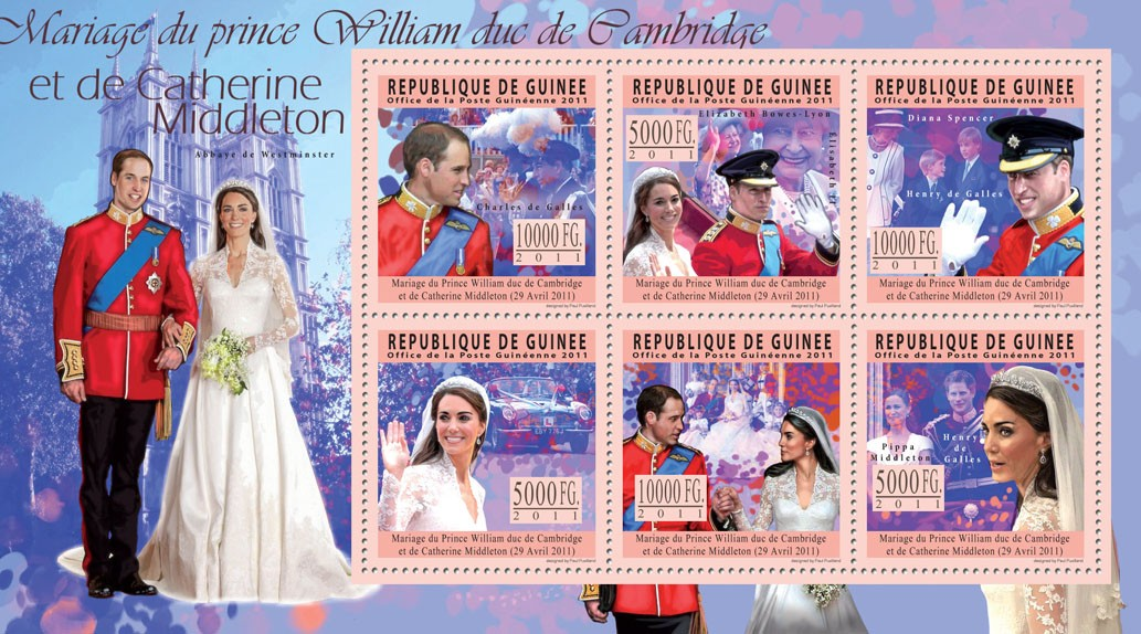 Royal Wedding, Prince William & Kate Middleton. - Issue of Guinée postage stamps