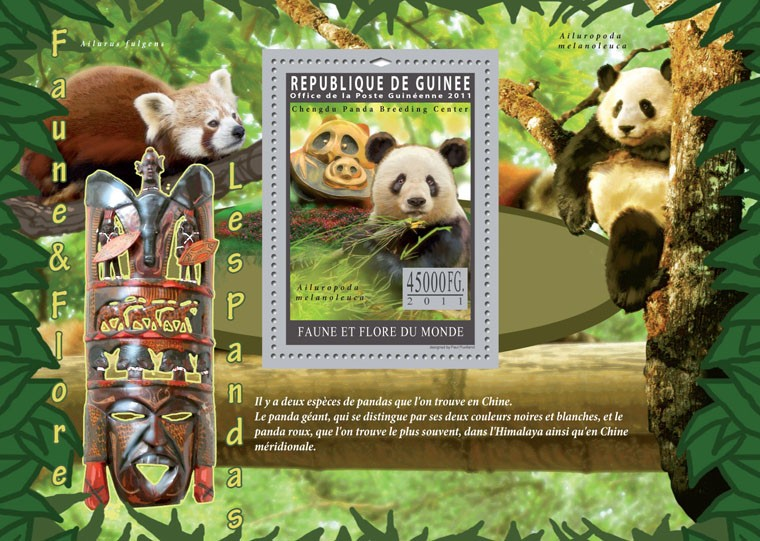 Pandas. - Issue of Guinée postage stamps