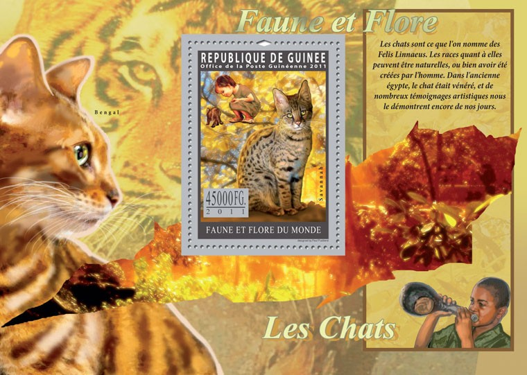 Cats. - Issue of Guinée postage stamps