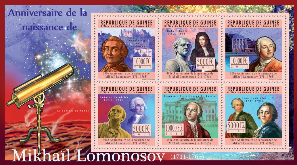 300th Anniversary of Birth of Mikhail Lomonosov (1711-1765). - Issue of Guinée postage stamps