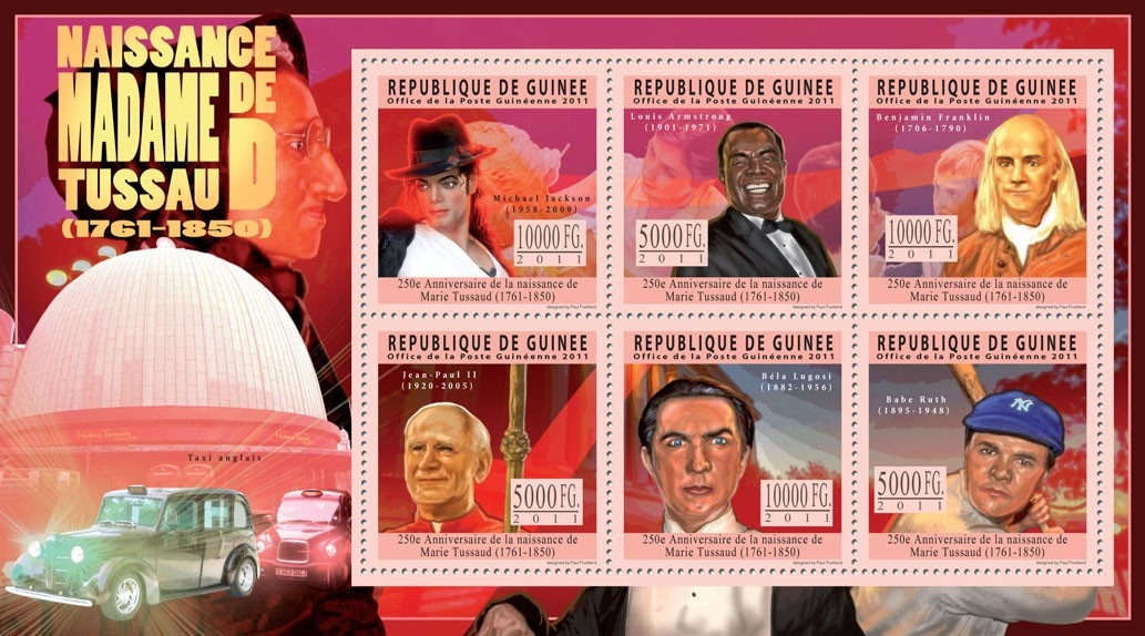 250th Anniversary of Birth of Marie Tussaud (1761-1850). - Issue of Guinée postage stamps