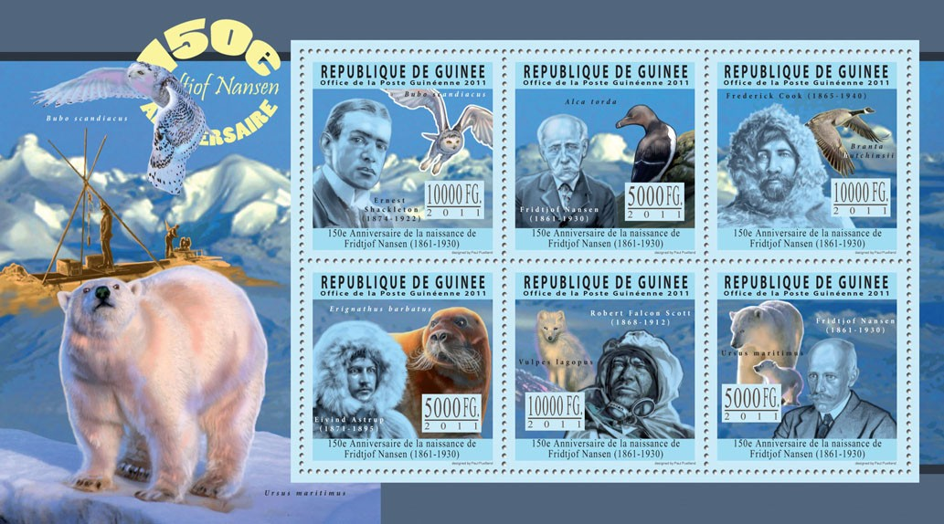 150th Anniversary of Fridtjof Nansen (1861-1930), Arctic. - Issue of Guinée postage stamps