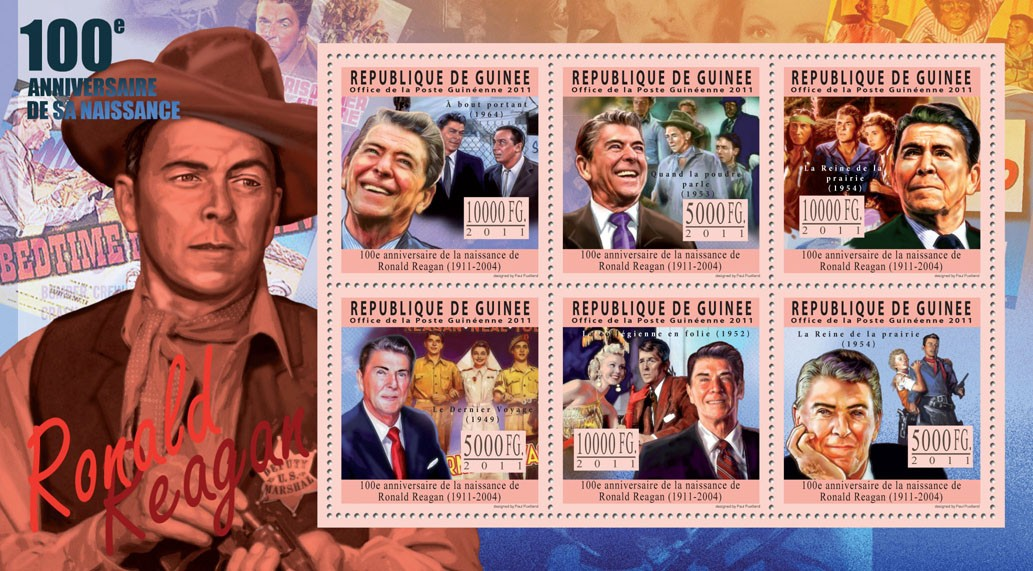 100th Anniversary of Ronald Reagan (1911 - 2004). - Issue of Guinée postage stamps
