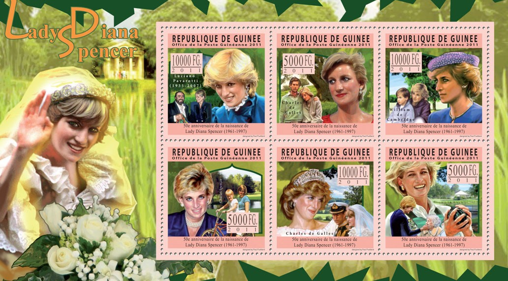 50th Anniversary of Lady Diana Spencer (1961 - 1997). - Issue of Guinée postage stamps