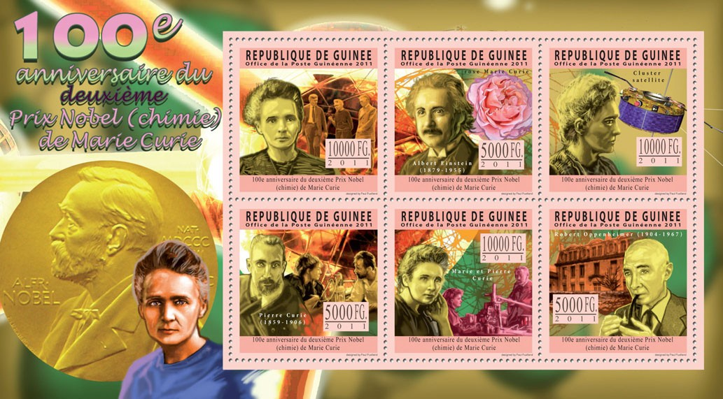 100th Anniversary of second Nobel Prix for Marie Curie. - Issue of Guinée postage stamps