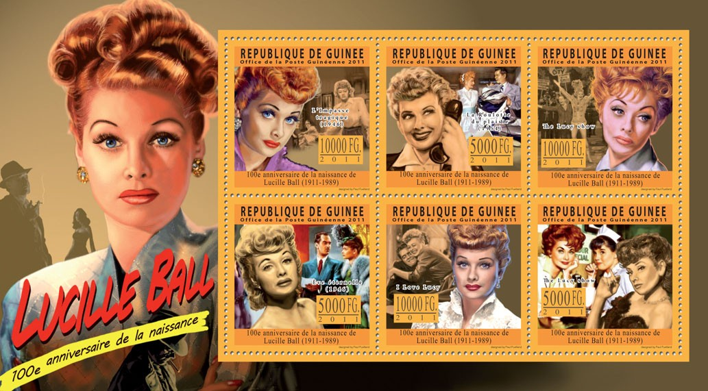 100th Anniversary of Lucille Ball, (1911-1989). - Issue of Guinée postage stamps