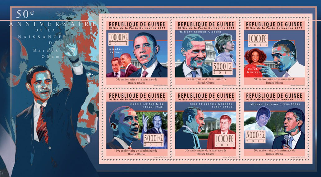 50th Anniversary of Barack Obama. - Issue of Guinée postage stamps