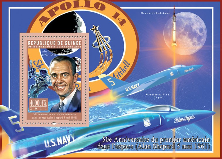 50th Anniversary of Firs American in Space, (Alan Shepard). - Issue of Guinée postage stamps