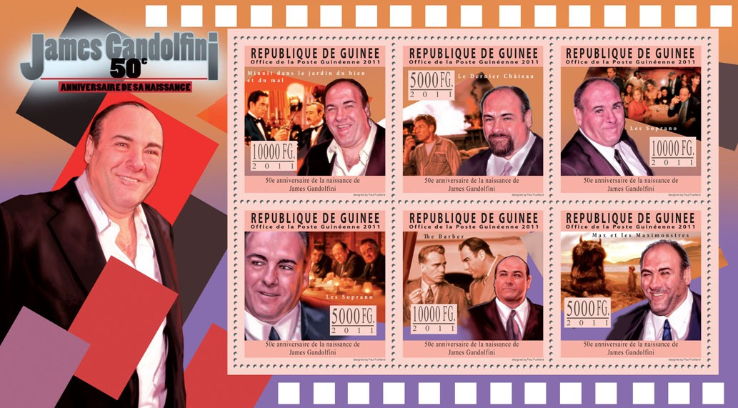 50th Anniversary of James Gandolfini, Cinema. - Issue of Guinée postage stamps