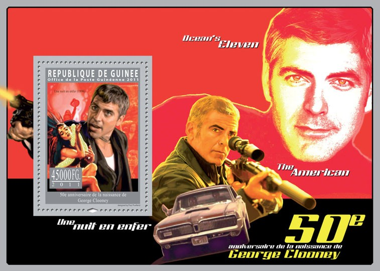 50th Anniversary of Georges Clooney, Cinema. - Issue of Guinée postage stamps