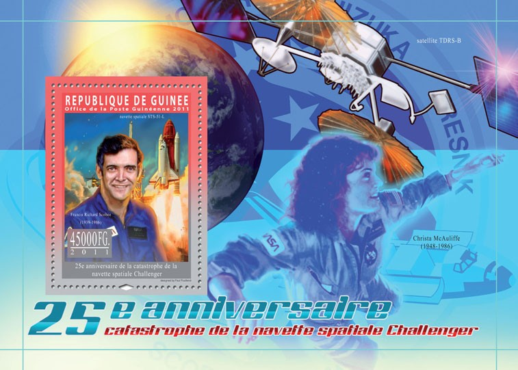25th Anniversary of Catastrophe Challenger, Space. - Issue of Guinée postage stamps
