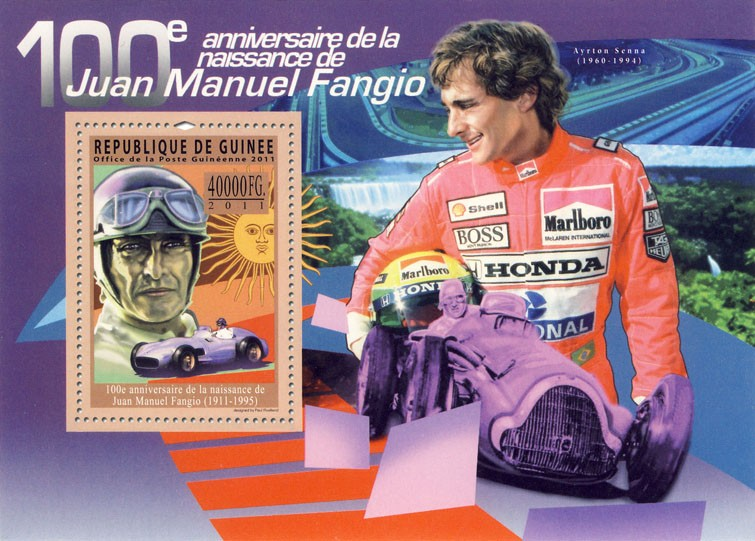 100th Anniversary of Juan Manuel Fangio, (1911-1995). Motorsport. - Issue of Guinée postage stamps