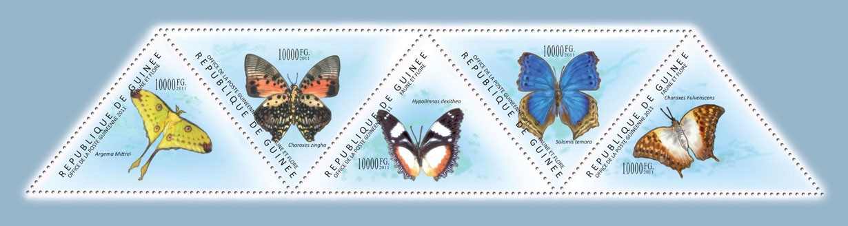 Butterflies I, (Argema Mittrei, Charaxes Fulvenscens). - Issue of Guinée postage stamps