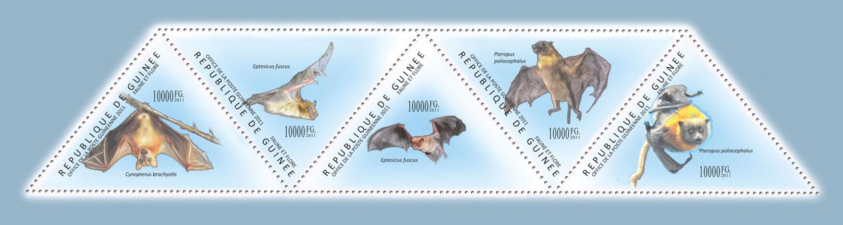 Bats, (Cynopterus bratchyotis, Pteropus poliocephalus). - Issue of Guinée postage stamps