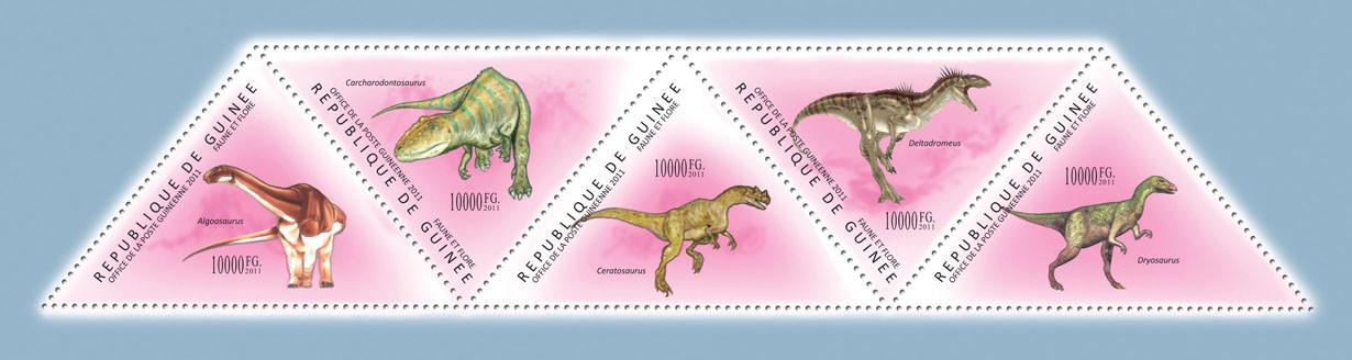 Dinosaurs,  (Algoasaurus, Dryosaurus). - Issue of Guinée postage stamps