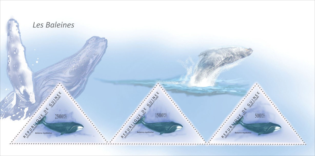 Whales, (Balaena mysticetus). - Issue of Guinée postage stamps