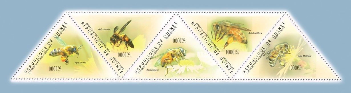 Bees, (Apis cerana, Apis Mellifera). - Issue of Guinée postage stamps