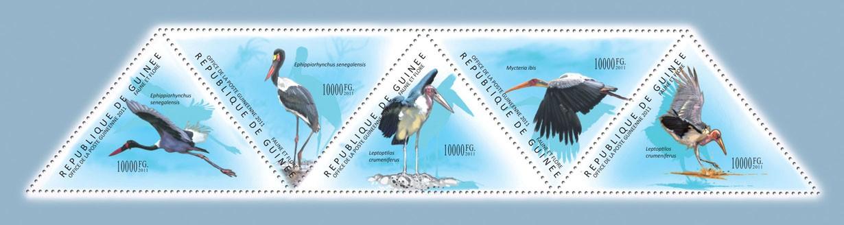 Birds, (Ephippiorhynchus senegalensis, Leptoptilos crumeniferus). - Issue of Guinée postage stamps