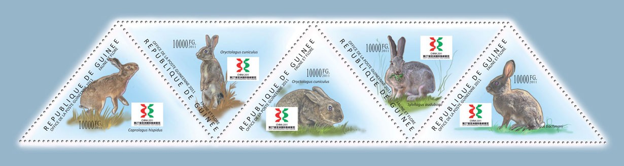 Rabbits, (Caprolagus hispidus, Sylvilagus bachmani). - Issue of Guinée postage stamps
